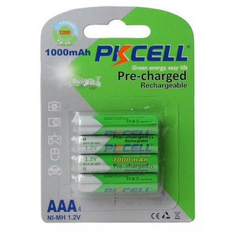 Lot 4 pièces 1.2v AAA, 1000mAh pile rechargeable