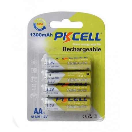 Lot 4 pièces 1.2v AA, 1300mAh pile rechargeable