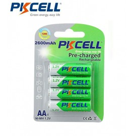 Lot 4 pièces 1.2v AA, 2600mAh pile rechargeable
